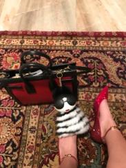 I was feeling a little Dorothy inspired. Shoes: Valentino. Handbag: Saint Laurent Paris. Bag Charm: Alice & Olivia